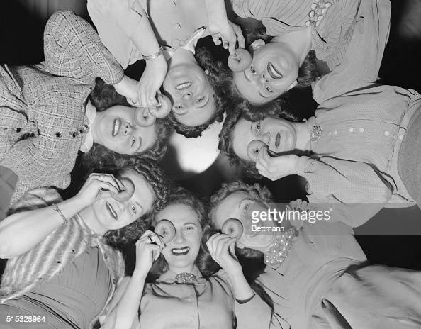 A few of the New York girls who applied for positions as 'DoughnutDunking Waitresses' in the Mayflower Doughnut Exhibit at the New York World's Fair...