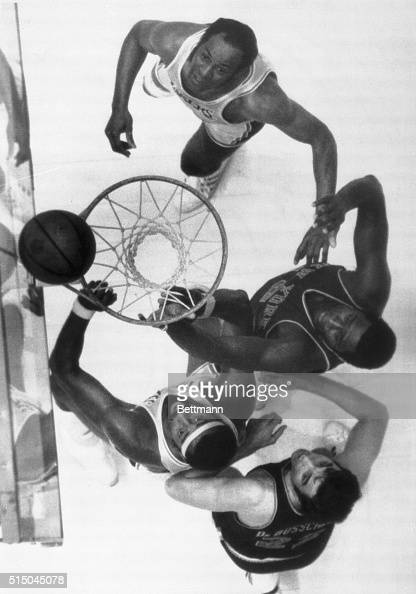 4/29/70Inglewood California Elgin Baylor and Wilt Chamberlain of the Lakers and Willis Reed and Dave Debusschere of the Knicks all watch the ball...