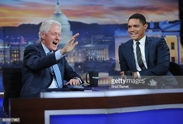 42nd President of the United States Bill Clinton and Trevor Noah attend The Daily Show with Trevor Noah on September 15 2016 in New York City