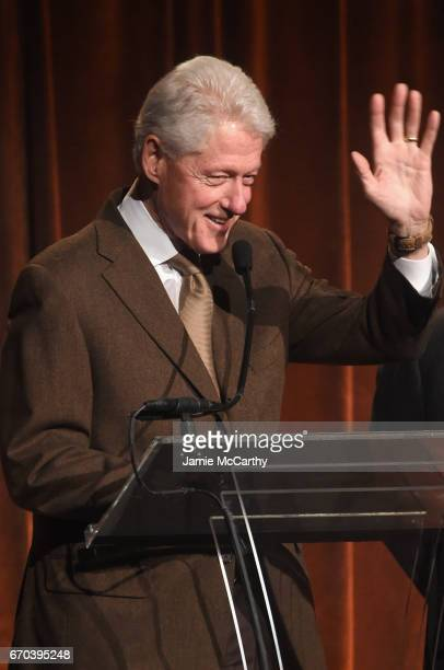 42nd US President Bill Clinton speaks on stage at the Food Bank for New York City CanDo Awards Dinner 2017 on April 19 2017 in New York City