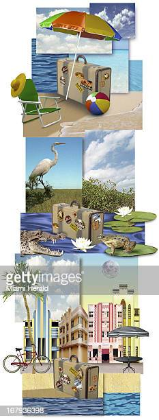 42p x 111p Philip Brooker color illustration of Florida travel images shows suitcases at the beach the Everglades and Miami