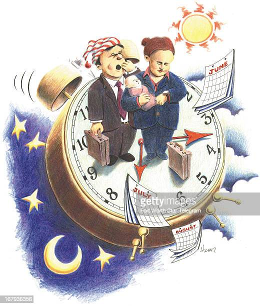 42p x 50p Mark Hoffer color illustration of working parents on different shifts Mother holds baby and checks watch while dad in nightcap yawns They...