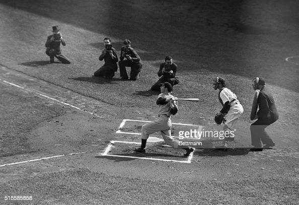 4/30/1938Washington DC Photo shows Joe DiMaggio as he singled in the first inning of the game between the Yankees and the Washington Senators He...