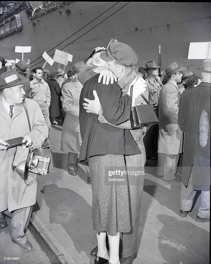 Major Carrol of Maplewood NJ First man off the ship returning from Korea is greeted by his wife Esther