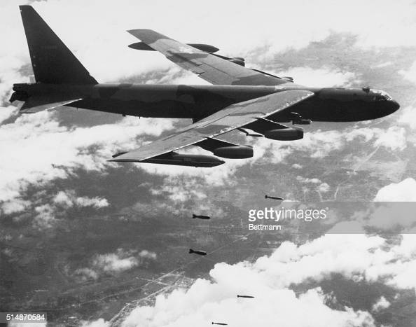 4/3/1967Saigon Vietnam An Air Force B52 Stratofortress unloads tons of bombs on enemy stongholds in South Vietnam in this US Air Force photo B52's...