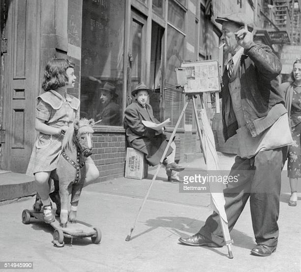 4/4/1950New YorkORIGINAL CAPTION READS As balmy spring weather warms the sidewalks of New York little street scenes such as this crop up all over...