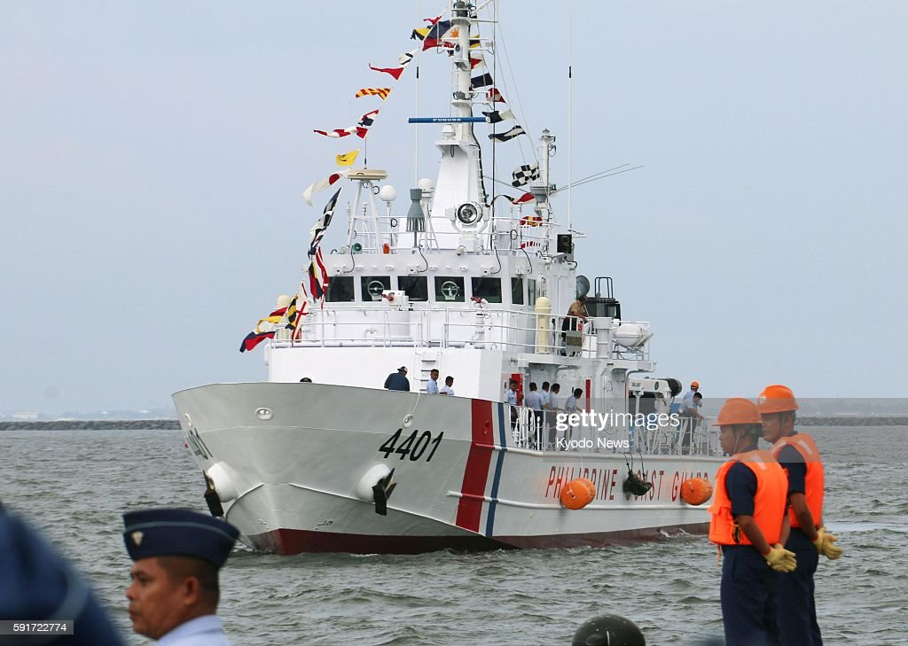 A 44meter multirole response vessel one of 10 ships provided by Japan to the Philippines through an official development assistance loan heads to the...
