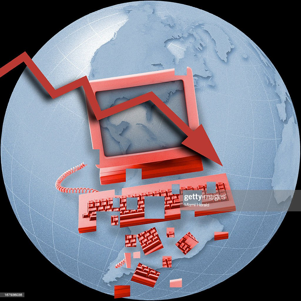 45p x 45p Ana Lense Larrauri color illustration of a declining fever line with a computer and keyboard crumbling into pieces on top of the world