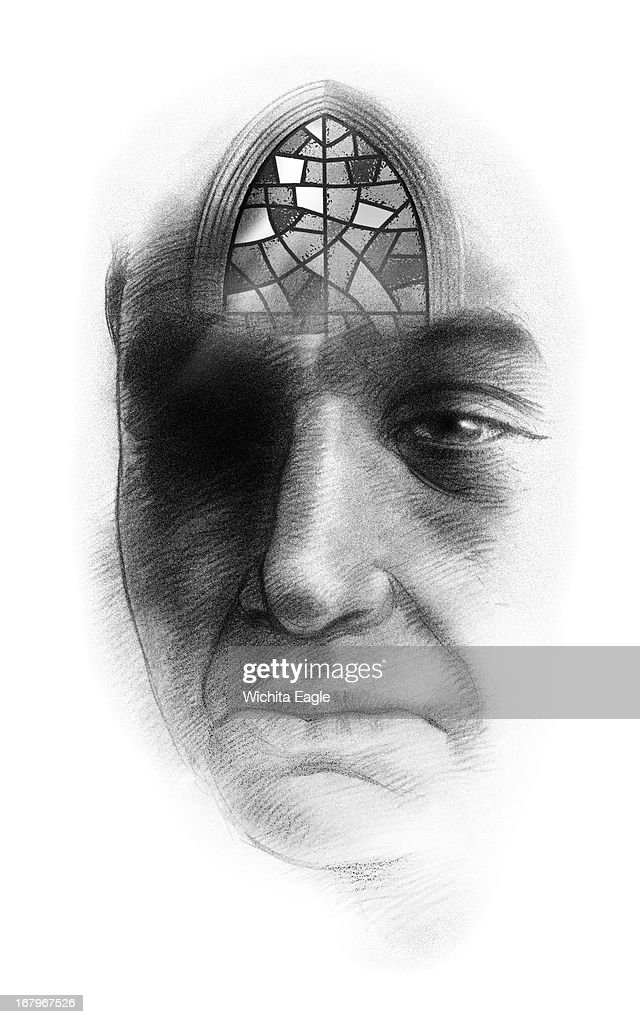 45p x 72p Tim Ladwig b&w illustration of a mentally ill person focusing on religion.
