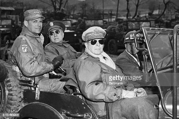 4/6/1951Yang Yang Korea L to r Lieutenant General Matthew B Ridgeway Coast Guard US 8th Army Major General Doyle O Hickey acting Chief of Staff...