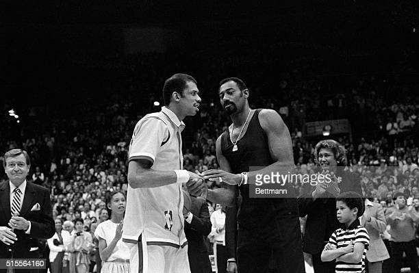 4/6/1984Inglewood California LOS Angeles Lakers center Kareem AbdulJabbar is congratulated by Wilt Chamberlain during a ceremony 4/6 at the Inglewood...