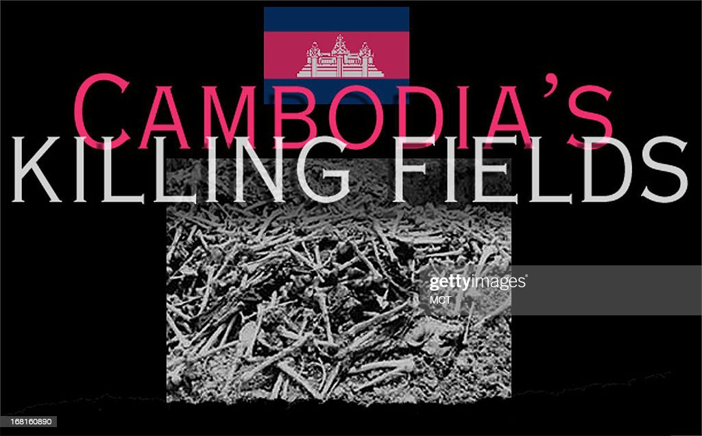 Under headline 'Cambodia's Killing Fields,' Cambodian flag and picture of human bones.