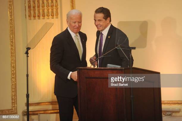47th Vice President of the United States Joe Biden and New York State Governor Andrew Cuomo attends the Help USA 30th Anniversary Luncheon at The...