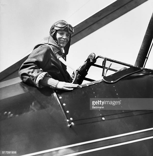 4/8/1931Philadelphia PennsylvaniaAmelia Earhart in the cockpit of her autogiro after setting a new altitude record for women in planes of this type...