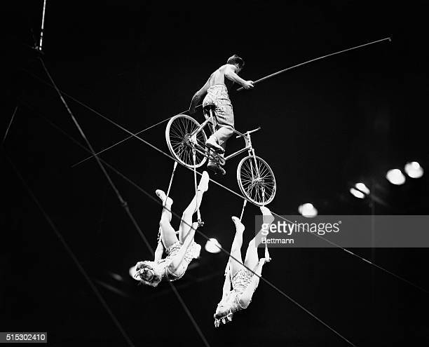4/8/1948New York NY The Alzanas often billed as the most daring highwire artists in the world put on their act for the crowds at New York's Madison...
