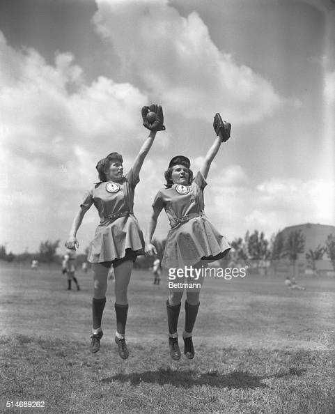 4/8/1948Opa Locka FL Twins Eilaine and Ilaine Roth of Michigan City IM play shortstop and second base respectively for the Muskegon MI Lassies...