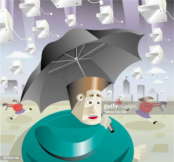 48p x 44p John C Sopinski color illustration of man holding umbrella to sheild against a rain of computers representing internet stocks while others...