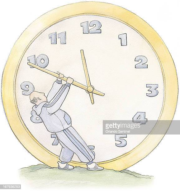 48p x 51p Ingrid Pecca color illustration of balding man with paunch in sweatsuit and tennis shoes pulling back the hands of a giant clock