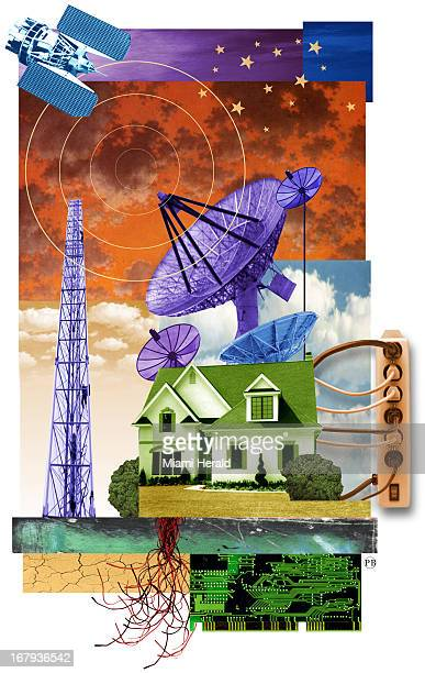 48p x 76p Philip Brooker color illustration of a 'wired' home showing home plugged in to a powerstrip with image of satellite satellite dish and...