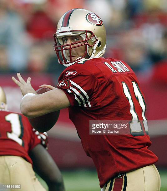 49er quarterback Alex Smith late in the game as the San Francisco 49ers defeated the Seattle Seahawks by a score of 20 to 14 at Monster Park San...
