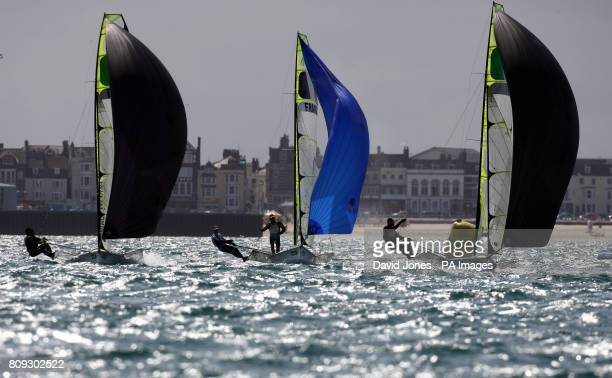 49ers compete off Weymouth esplanade during day four of the Skandia Sail for Gold Regatta in Dorset