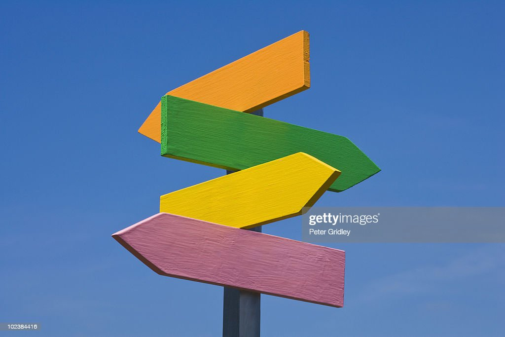 4-Arrow Direction Sign : Stock Photo