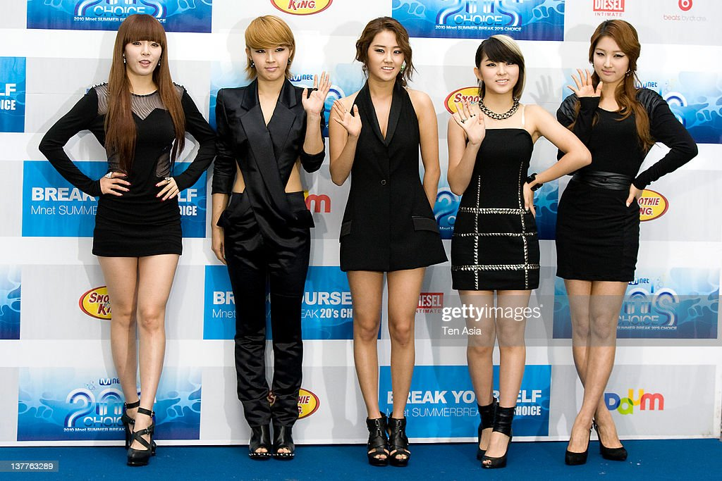 <a gi-track='captionPersonalityLinkClicked' href=/galleries/search?phrase=4minute&family=editorial&specificpeople=6726889 ng-click='$event.stopPropagation()'>4minute</a> pose for photographs upon arrival during the 2010 Mnet 20's Choice at Sheraton Grande Walkerhill Hotel on August 26, 2010 in Seoul, South Korea.
