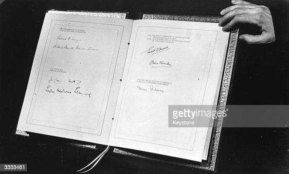 The North Atlantic Treaty showing the signatures of the foreign secretaries and ambassadors of the original signing nations Belgium Britain Canada...