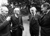 British prime minister Harold Wilson with members of his new cabinet in the garden of 10 Downing Street London Wilson Employment Secretary Michael...