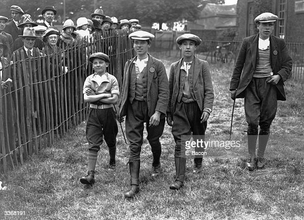 Pit boy jockeys on their way to the paddock at the Pit Pony Parade and race meeting at Thorp near Wakefield Yorkshire