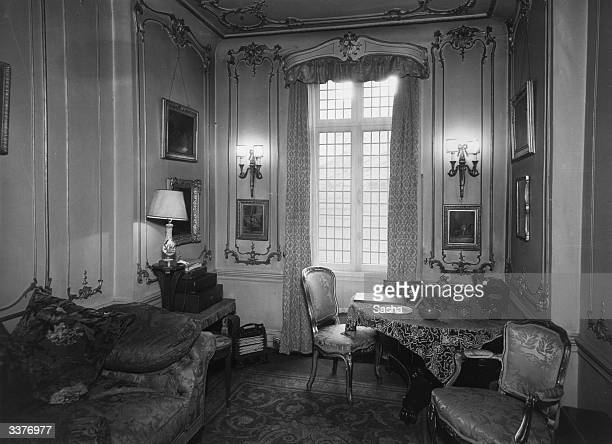 An elegant sittingroom in the Mayfair home of Eleanor Viscountess Esher All her furnishings are in the style of Louis 15th and 16th