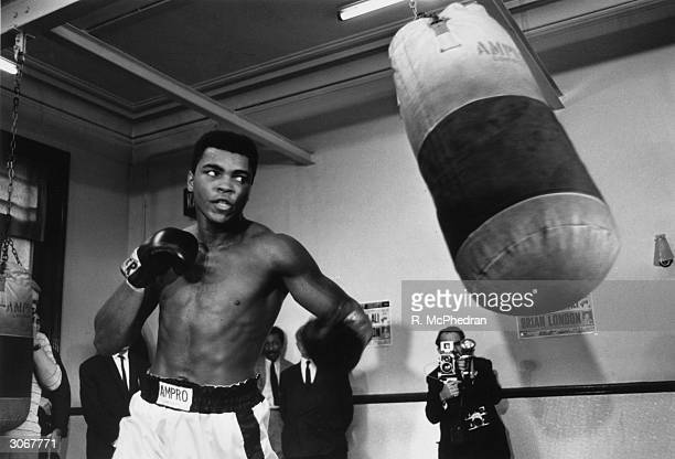 American boxer Muhammad Ali born Cassius Marcellus Clay Jnr in training for his upcoming fight against Brian London London lost the fight after being...