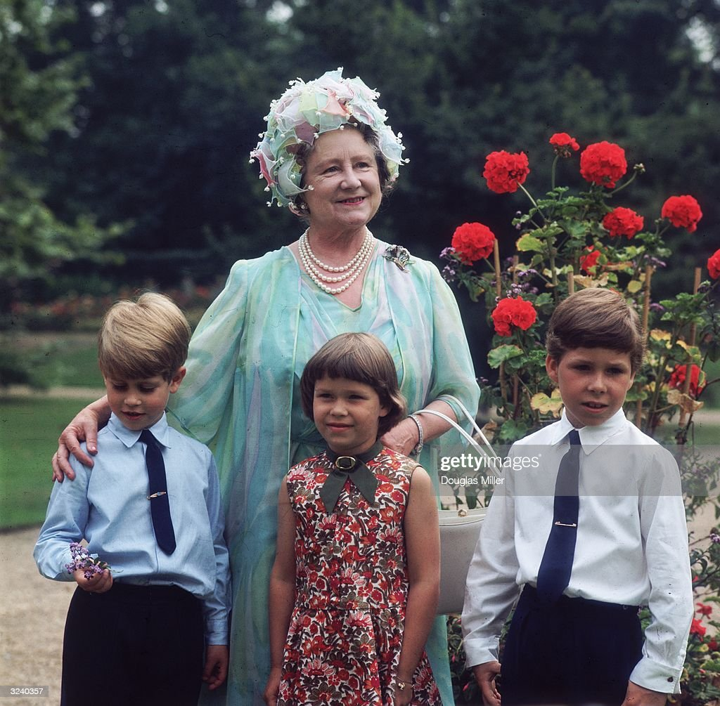 Prince Edward, Sarah Armstrong Jones and Viscount Linley visiting their grandmother, Elizabeth the Queen Mother (1900 - 2002) on her 70th birthday.