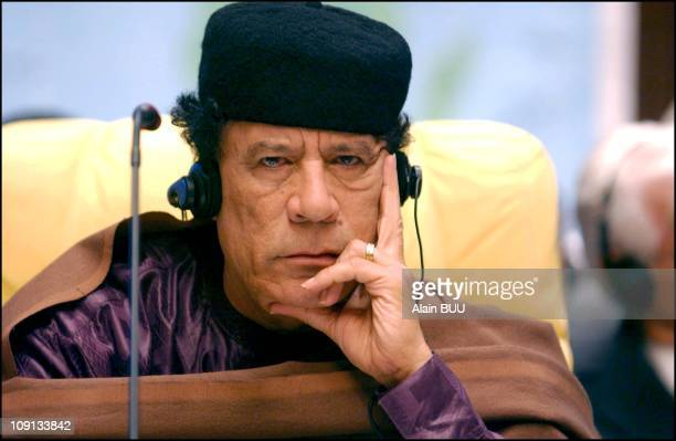 4Th Conference of heads of Sahel and Saharan countries at Syrte's Ouagadougou Center On March 6Th 2002 In Syrte Libya Libyan President Muammar...