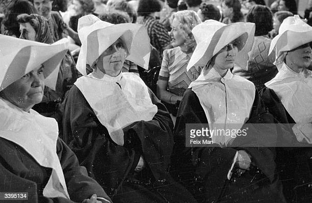 Extras playing the part of nuns in 'Two Thousand Women' directed by Frank Launder for Gainsborough films Original Publication Picture Post 1585 Women...
