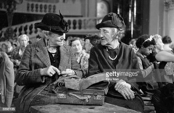Two elderly extras in a scene from 'Two Thousand Women' directed by Frank Launder for Gainsborough films Original Publication Picture Post 1585 Women...