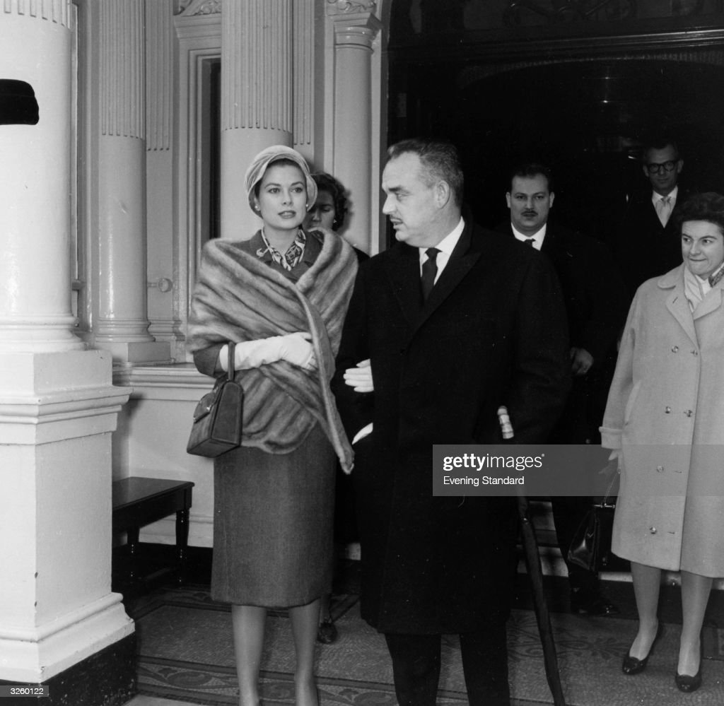 Prince Rainier of Monaco with his bride Princess Grace visiting London.