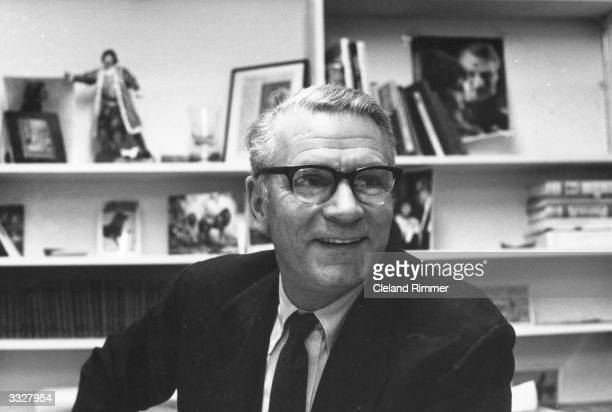 Laurence Olivier director of the National Theatre and an accomplished actor director and producer in his office at the National Theatre London