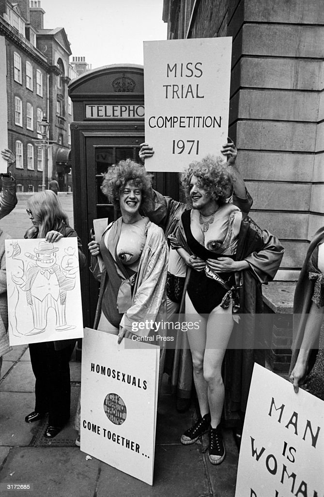 Members of the Gay Liberation Front protesting outside Bow Street Magistrates Court where five members of the Women's Liberation Front are appearing in court in connection with the recent disruption of the Miss World contest at the Royal Albert Hall.