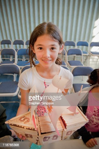 4th Grade Girl And Her Handmade Galleon Stock Photo ...