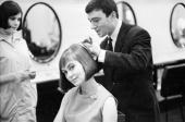 British hairdresser Vidal Sassoon creates a long bob with a soft fringe for actress Janette Scott