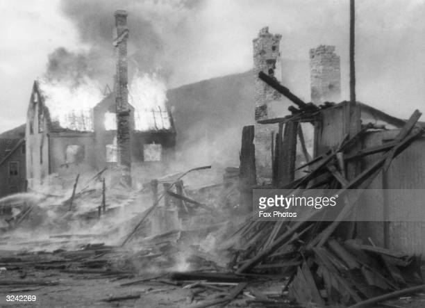 Houses in Narvik are burnt to the ground during the German invasion of Norway