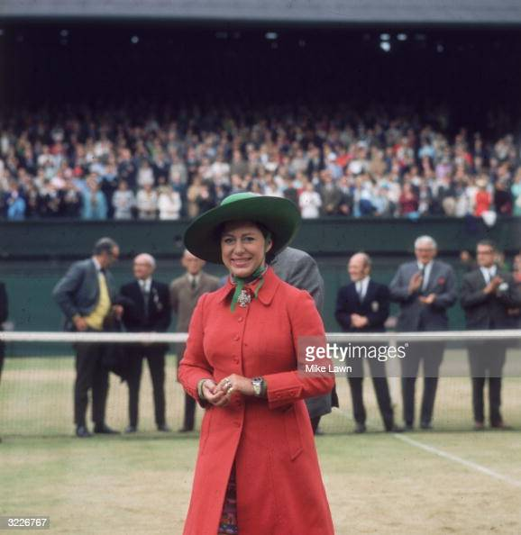Princess Margaret on centre court at Wimbledon to present John Newcombe with the Men's Singles Trophy