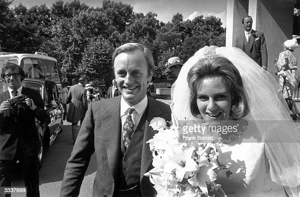 Camilla Shand and Captain Andrew Parker Bowles outside the Guards' Chapel on their wedding day