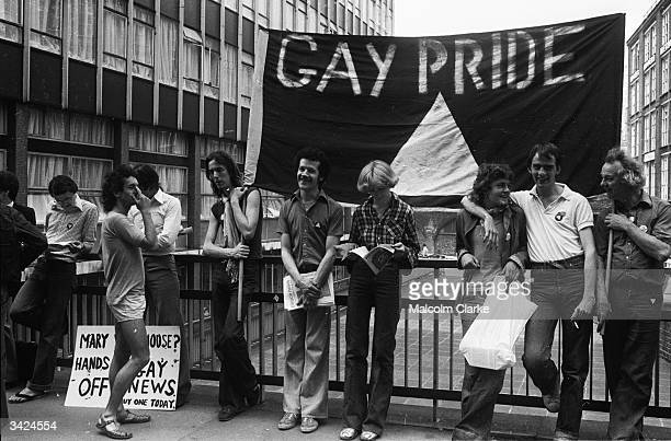 Members of the Gay Liberation Movement protesting outside the Old Bailey over Mary Whitehouse's court action against the Gay News Magazine