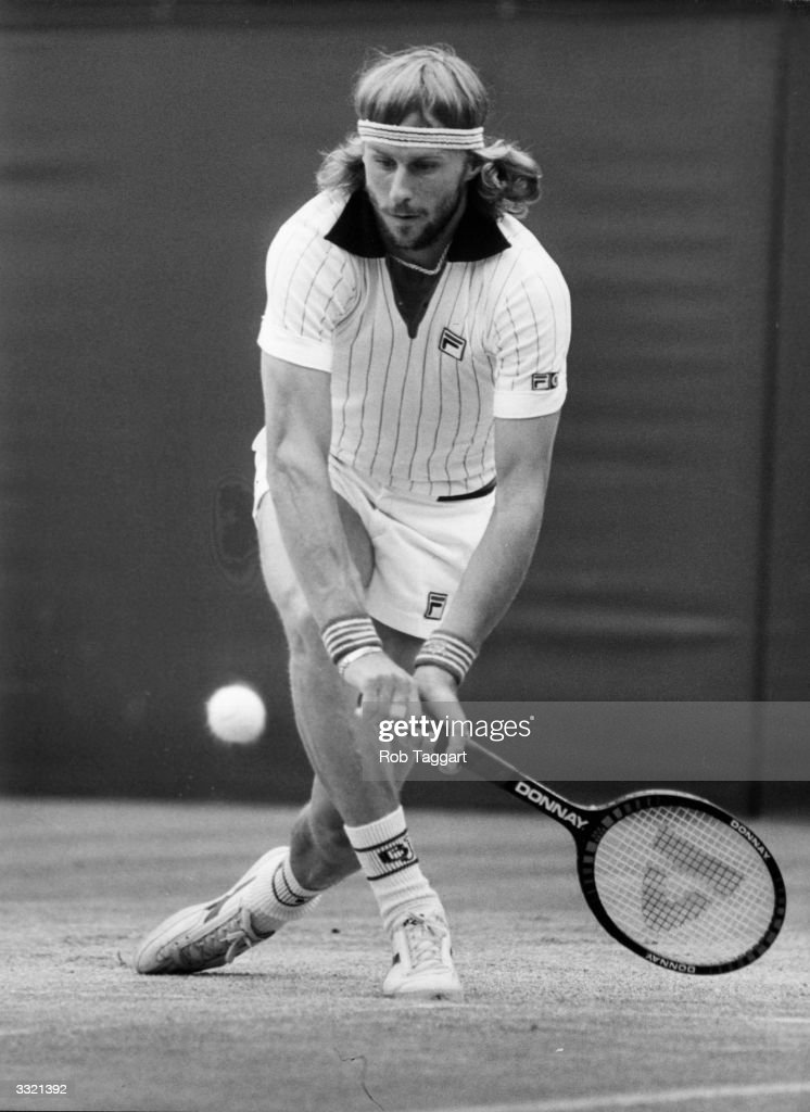 Swedish tennis player Bjorn Borg in action against John McEnroe of the USA in the men's singles final at Wimbledon. McEnroe went on to win, upsetting Borg's five consecutive Wimbledon titles.