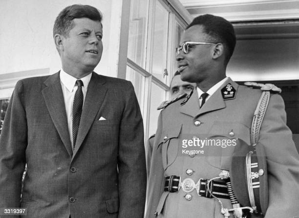 US statesman John F Kennedy 35th president of the USA and Zairean soldier and politician Mobutu Sese Seko previously Joseph Desire Mobutu...
