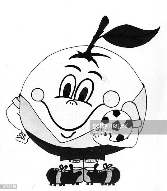A drawing of 'Naranjito' the mascot chosen for the 1982 Football World Cup games being held in Spain dressed in the uniform of the Spanish team and...