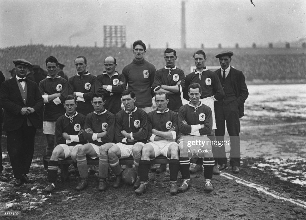 The Welsh national football team about to face England at Blackburn From left to right are Latham H P Evans J Nicholls Moses Russell Gray Jenkins...
