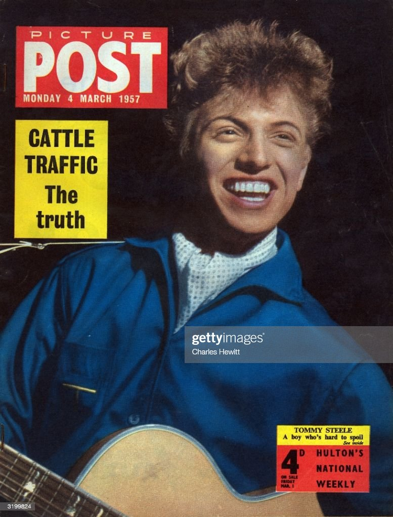 British pop singer Tommy Steele appears on the cover of Picture Post magazine. The headline on the left reads 'Cattle Traffic: The Truth'. Original Publication: Picture Post Cover - 8815 - Tommy Steele: A Boy Who's Hard To Spoil - pub. 1957